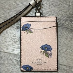 Coach Bell Flower Print ID Lanyard Coated Canvas